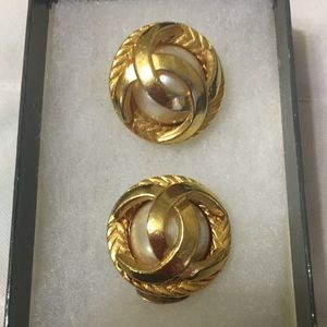 Chanel Gold Tone and Faux Pearl Clip-on Earrings